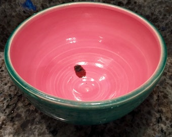 Hand thrown ceramic watermelon bowl