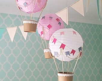 Whimsical Hot Air Balloon Decoration DIY kit , Nursery Decor , unisex Baby shower , Wedding Decor , Travel Theme Decor - set of 3