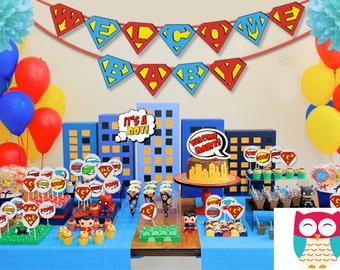 Superhero Pop Art Baby Shower Party Package Printable Decorations Supplies - Editable Personalized Super Set Party Kit PK-20