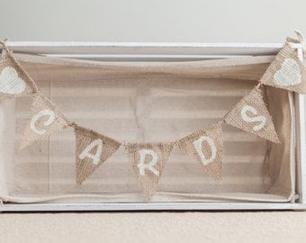 Mini CARDS With Hearts Bunting - Vintage Handmade Wedding Decoration Burlap / Hessian Bunting Shabby Chic Rustic Banner