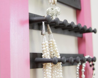 Jewellery Hanging Wall Organizer - colourful reclaimed wood