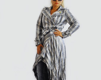 Woman Extravagant Blue Asymmetrical raincoat/ Autumn Blue Long Raincoat Woman autumn trench coat Blue coat French Taffeta coat /C1293