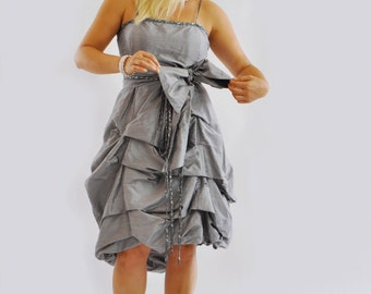 Gray Taffeta dress/Handmade Prom dress/Evening dress/Woman dress/Bridesmaid dress/100% Silk taffeta wedding dress/Drappe Silk dress/D1373