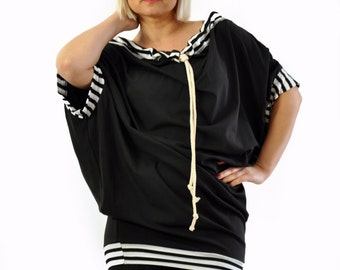 Woman Black Casual Loose Tunic/Oversize Black Tunic/Black Loose Top/Maxi Tunic/Plus size Tunic/Short sleeves tunic dress/blouse/T1292