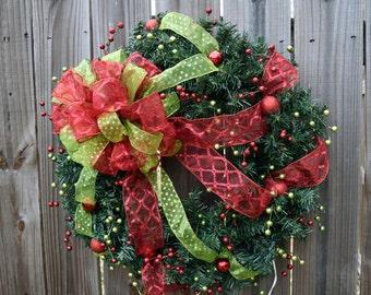 Noel- Christmas Custom Pre-Lit Wreath