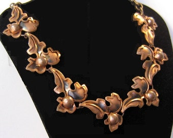 Mid-century copper leaf and berry necklace