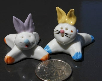 Easter Bunny Figurines Handmade Ceramic Miniature Animals 2 Collectibles Rabbits Great Easter Decoration!!!!