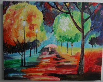 Impressionist Painting of Trees and Scenery