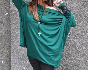 New Collection  Loose Green Asymmetrical Top / Long Sleeves Tunic / Plus Size Green Top / Extravagant Casual Oversize Top by EUGfashion