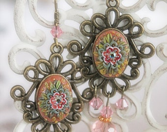 Polymer Clay Filigree Earrings, Polymer Clay Boho Jewelry, Polymer Clay Dangle earrings, Polymer Clay Chandelier Earrings, Gift for Her