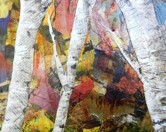 Original Fall Birch Trees Torn Paper Collage, Original Birch Tree Art, OOAK Fall Birches Canvas Collage, Fall Paper Painting, Fall Art