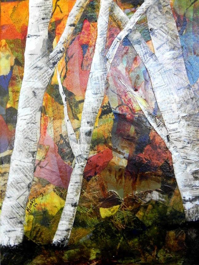 Original Fall Birch Trees Torn Paper Collage Original Birch