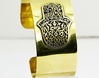 Hamsa Copper Big Cuff