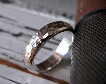 Hammered Silver Ring Mens Wedding Band Mens Wedding Ring Domed 5mm Mens Ring Rustic Wedding Band Handmade Artisan Commitment Ring