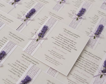 Lavanda Wedding Invitations with an organza ribbon and a bow: Set of 10 pieces!