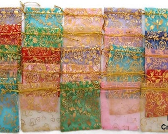 "25 ORGANZA GIFT BAGS Floral Assortment 3.5"" X 4.5""  10cm X 12cm  Favor Bags Wedding Bridal Gifts"