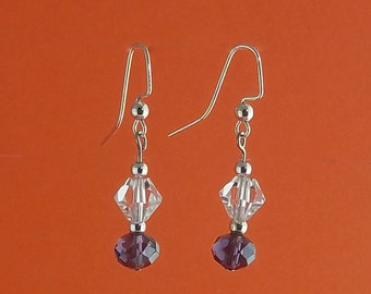 Clear Czech bicones with purple crystal rondelles