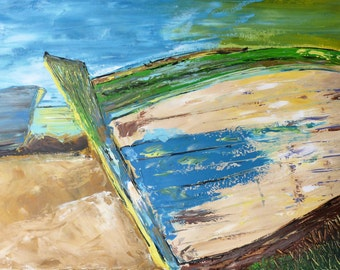 Boat painting, original painting, textured art, acrylics on canvas, seascape painting, abstract boat art, impasto, ooak art, modern painting