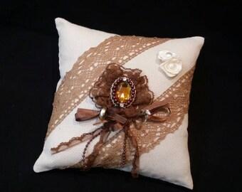 Handmade ring pillow , cushion , ring bearer / holder