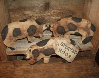 Primitive Hogs Folk Art PIGS Trio of Bowl Filler Ornies Rustic Country Decor, OFG HAFAIR Teams