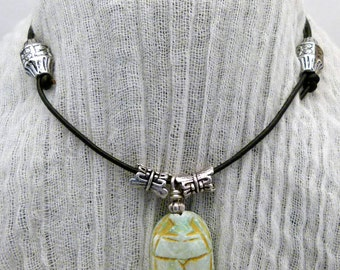 Egyptian Scarab Amulet Choker on Adjustable Leather Cord, N0047