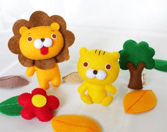 Lion doll,Lion garland,Lion,Flower,Tree,Garland,Felt doll,Stuffed toys,Stuffed lion,Soft toys,Dolls,Toys