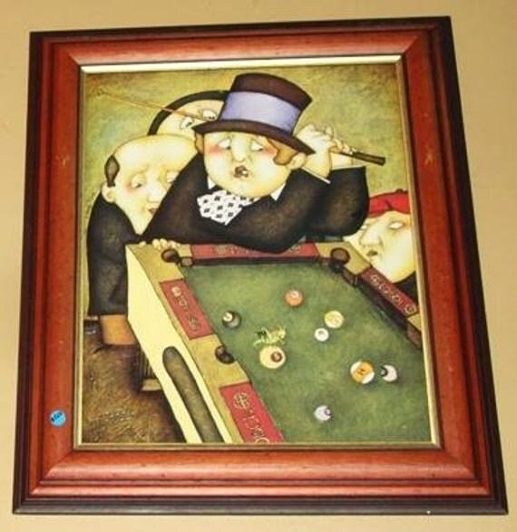Vintage Billiards Pool Table Wall Art Framed 2 Of By EarthsBizarre