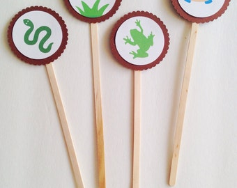 Reptile Birthday Party Cupcake Toppers