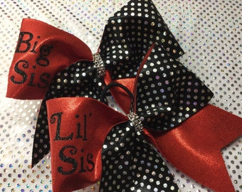 Big Sis Lil Sis Red and Black Cheer Bow
