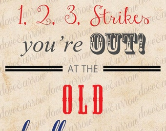8x10 Baseball Baby Shower Printable Sign Instant Download