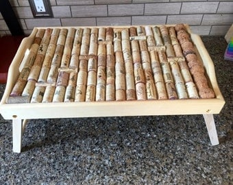 Folding Bed Tray wth Wine Cork Embellishments