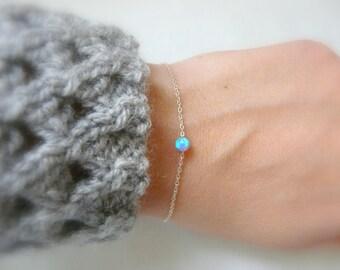 Opal bracelet, Silver Opal bracelet, Blue opal bracelet, Sterling silver bracelet, Dot bracelet, Delicate bracelet, Simple bracelet