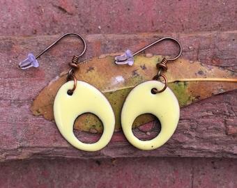 Yellow Enamel Earrings