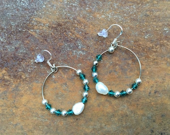 Fresh Water Pearls and Swarovski Crystal Earrings