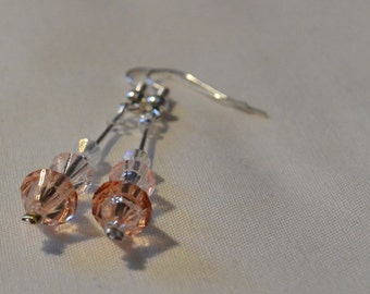 Peach and clear dangle earrings