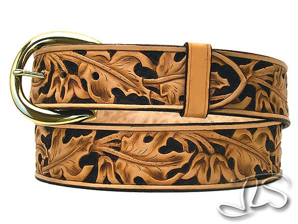 custom western leather belt tooled maple leaf by