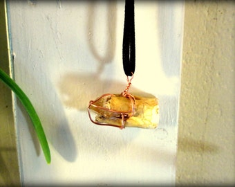 Copper wire wrapped Cow tooth and Citrine Necklace