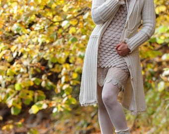 White hooded designer coat Women's coat wool knitted coat merino wool hooded coat long cardigan wedding coat jacket