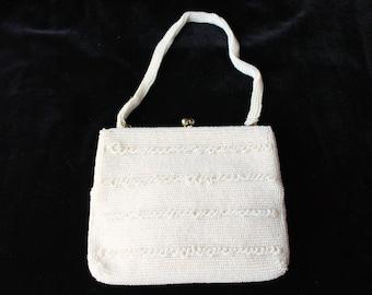 SALE 20% OFF! Vintage White Beaded Evening Bag/Bridal Bag