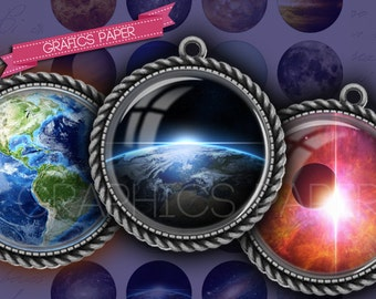 """Planets and cosmo - digital collage sheet - td70 - 1.5"""", 1.25"""", 30mm, 1 inch - circle Images Glass & Resin for Pendants cabochon cameo ring"""