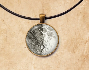 Astronomy necklace Galileo Moon pendant Space jewelry