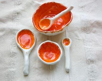 Orange and White Ceramic Kitchen Set