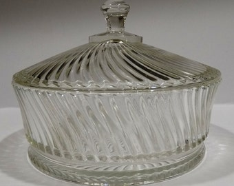 "Federal Glass Co ""Diana"" Covered Candy Dish"