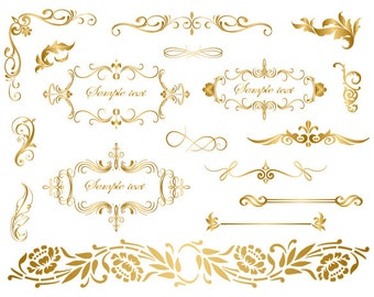 Instant Download Golden Frame Border Clipart Scrapbook Embellishment Gold Digital Flourish Swirl Frame Clip Art Border Decor Element 0026