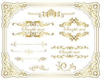 Instant Download Gold Frame Border Clip Art Golden Flourish Swirl Frame Border Clipart Full Page Border Scrapbook Embellishment 0059