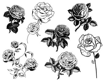 Digital Sketchy Rose Clipart Flower Silhouette Clip Art Black and White Rose Clip Art Flower Decoration Scrapbooking Decor 0074