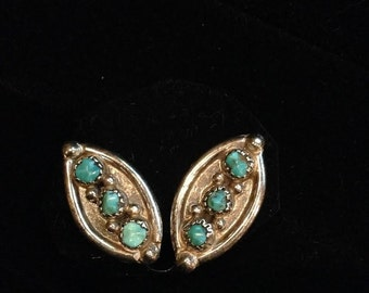 Vintage Petit Point Turquoise Sterling Silver Clip on Oval Earrings