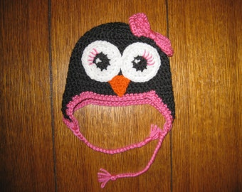 Crochet Penguin Earflap Hat - Made to Order.  Newborn to Adult sizes available