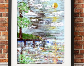 Art print of original edge of dock acrylic painting beach water blue romantic print EOD2431