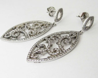 STERLING Silver Earrings, Sterling Silver Dangel Earrings, Fashion earrings,  Long earrings with white crystals